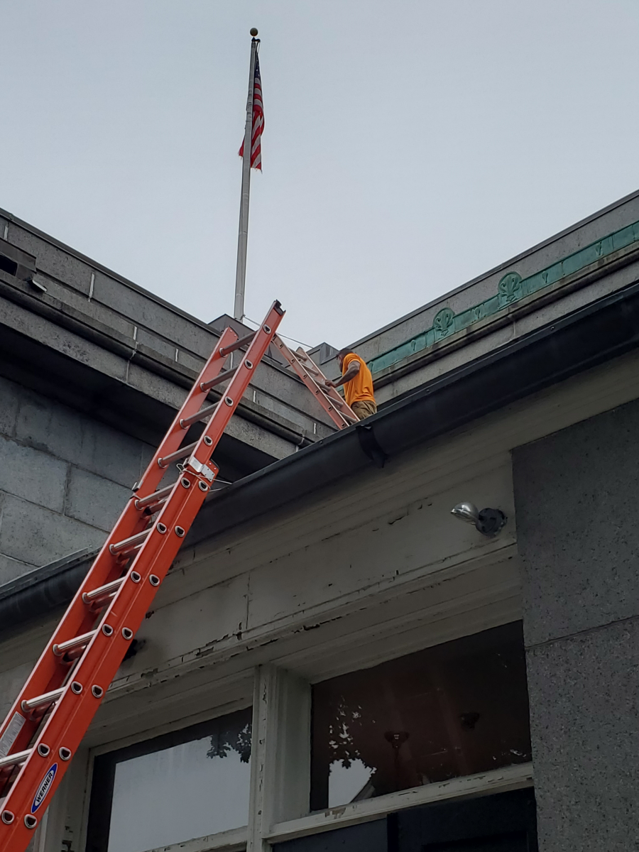Memorial Hall roof inspection (ladders on roof)