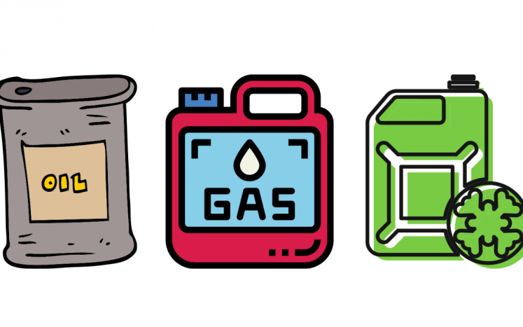 Cartoon image of oil, gas, and antifreeze containers